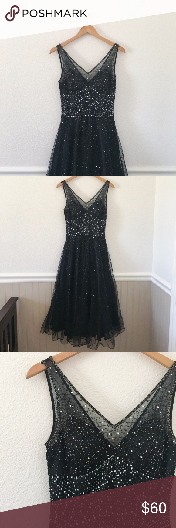 VINTAGE Black Beaded Tea Length Formal Dress This is a gorgeous tea-length formal dress! It has a v-neck in the front and back, with a beaded bodice and full skirt. I adored this dress, but was never able to fit into it. There are a few beads missing (picture included), but other than that it is in great condition! Sue Wong Dresses Prom