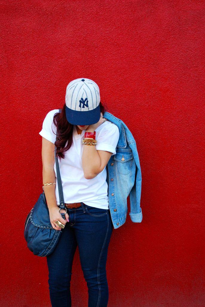 {SAK takes NYC - Simply Audree Kate} Jockey tee, H&M jeans, Levis jean jacket, Steve Madden purse, Betsey Johnson watch
