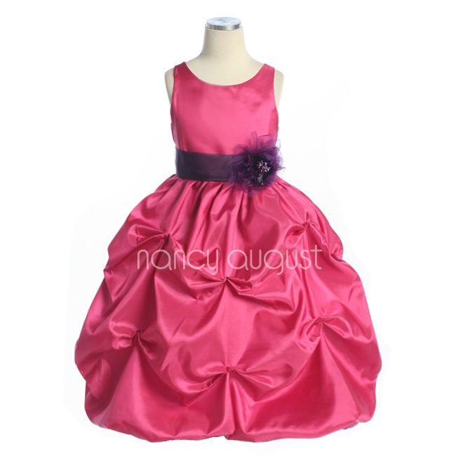 Fuchsia Flower Girl Dress with Pickup Bubble Skirt: This fuchsia taffeta flower girl dress with pickup bubble skirt is too adorable for words. A perfect hot pink fuchsia flower girl dress for your little girl for her big debut down the aisle. This elegant light weight taffeta dress features a removable waistband with sash tie in back and a delicious pickup bubble skirt with crinoline enhancement. Best of all you can pick your own customized sash color to match all your bridesmaid dresses!