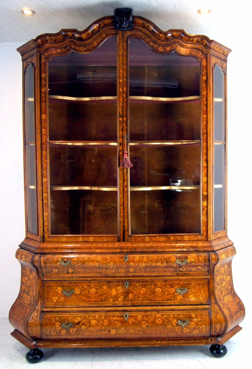 A Breathtaking Late 18th Century Dutch Walnut Marquetry Display Cabinet On Chest