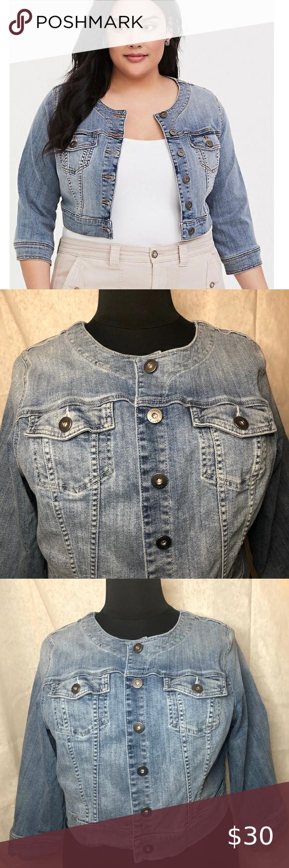 Torrid 3x Cropped 3 4 Sleeve Jean Jacket No Collar Denim Jacket Women Fitted Denim Jacket Denim Sweater Jacket [ 1740 x 580 Pixel ]