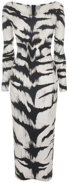 Alexandar McQueen/Tiger Print Jersey Pencil Dress