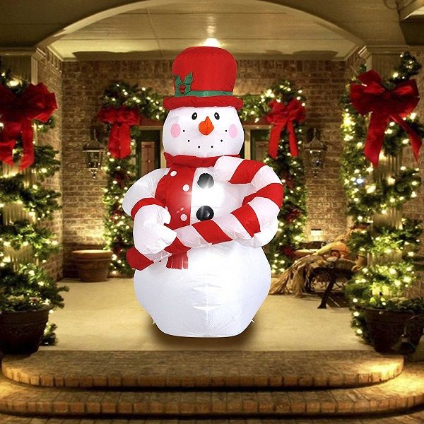 Inflatable Christmas Snowman with Hat Decor - Inflatable Outdoor - inflatable outdoor christmas decorations