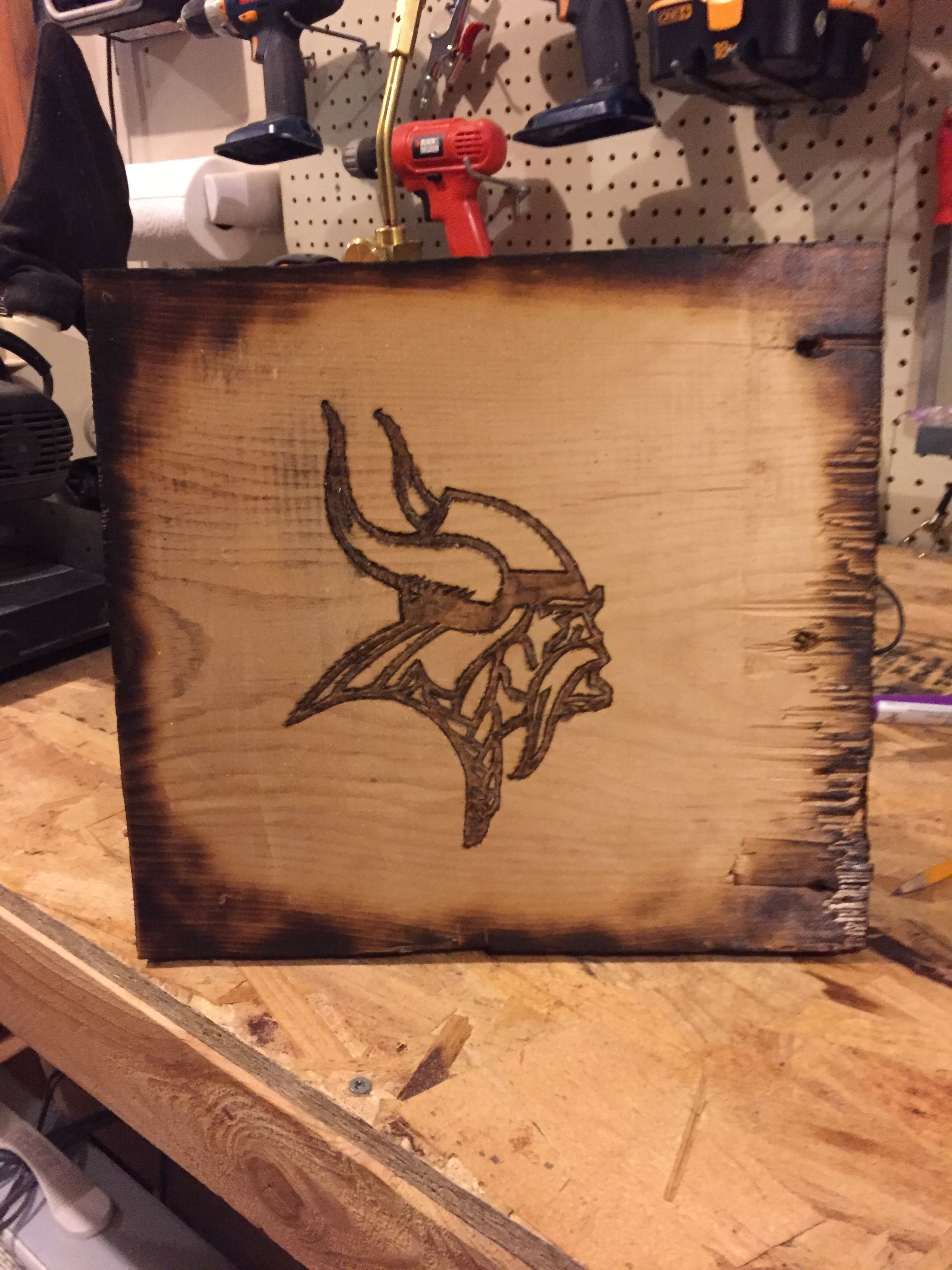 Pyrography Wood Burned The Vikings Logo On A Scrap Wood And Used A Propane Torch To Burn The Edges Great Addition To My Garage Hout