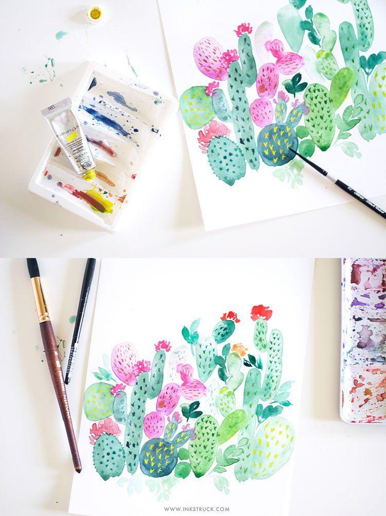 How To Paint A Watercolor Cactus Plus 5 More Watercolor Cactus