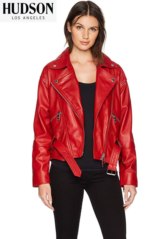 Ultra soft genuine leather biker women jacket. Our