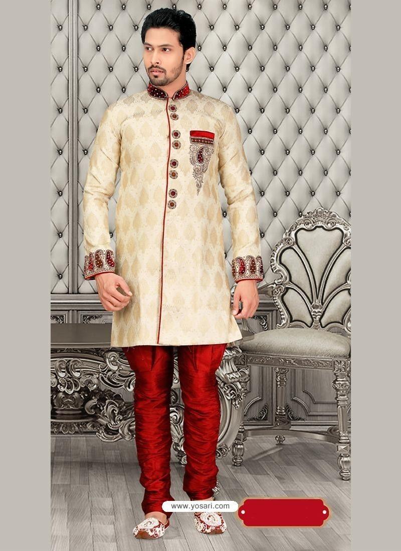 Incredible cream jacquard sherwani model yoshv sherwani