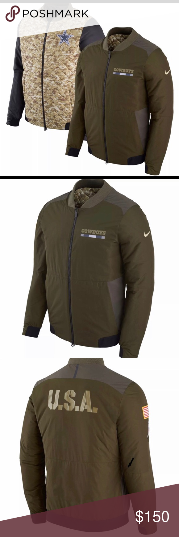 8aed53b1b3f Nike Cowboys Salute to Service Reversible Bomber New Nike Dallas Cowboys  Salute to Service Reversible Bomber Jacket Available Men's Size Medium & XL  MSRP: ...