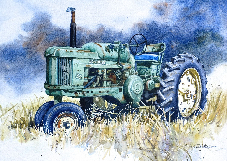 John Deere 50 Tractor print of Original Painting by HeartsEase2