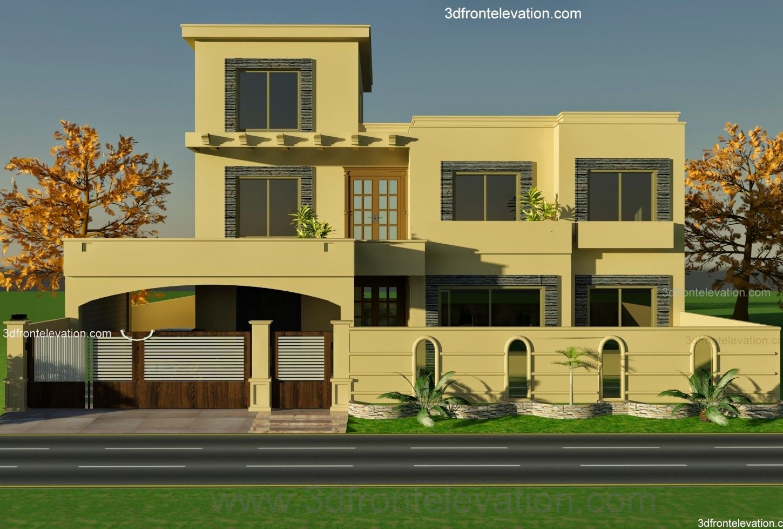 1 Kanal House Plan For 9 K1 Wapda Town 3d Front Elevation