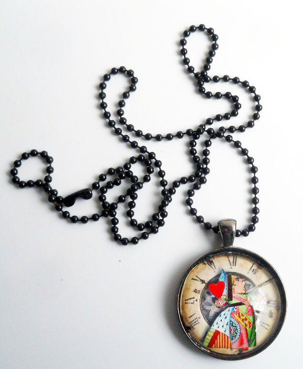 Designer Pendant Alice in Wonderland Pendant with Ball Chain - Queen of Hearts