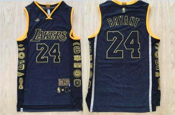 5ab35b602 Lakers 24 Kobe Bryant Black Retirement Commemorative Swingman Jersey ...