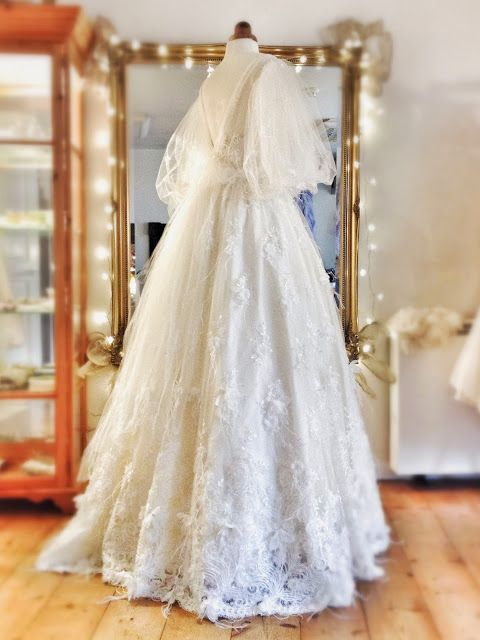Arabella Ivory Silk Tulle And Lace Full Length Wedding Dress By