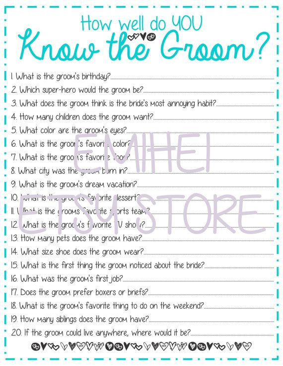 how well do you know the groom bridal shower game by emihei 150