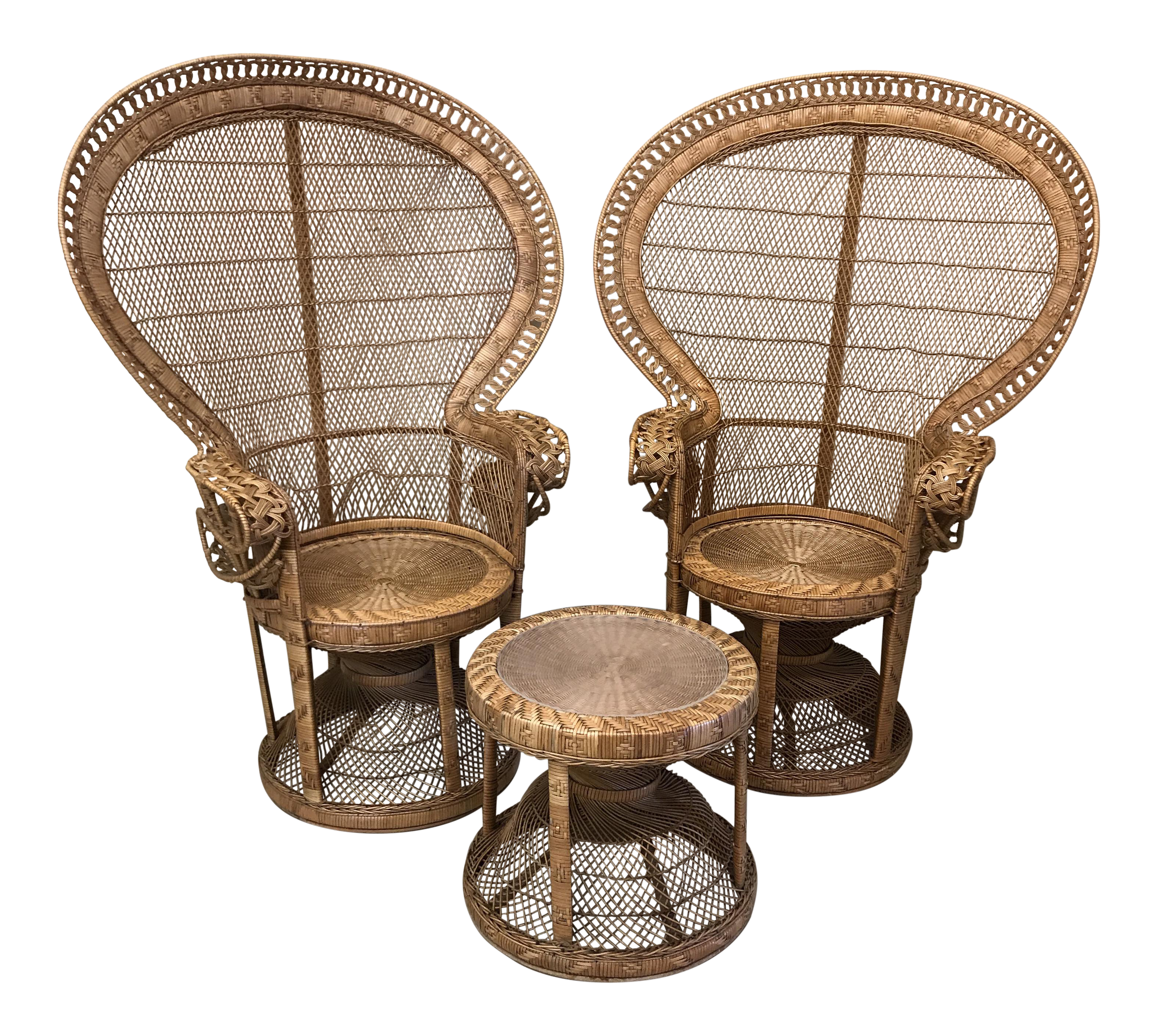 1970s Emmanuelle Wicker Rattan Peacock Chairs & Matching Table A