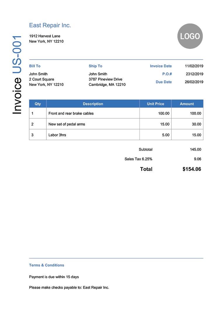 Invoice Template Us Modern Blue Invoice Template Receipt Template Quote Estimate