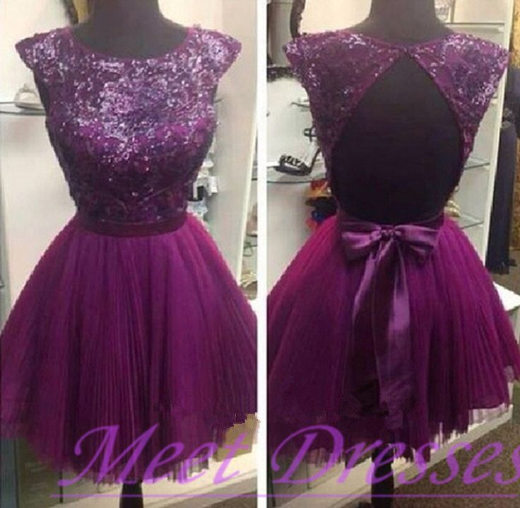 2015 Purple Chiffon Backless Short Prom Dress For Teens With Cap ...
