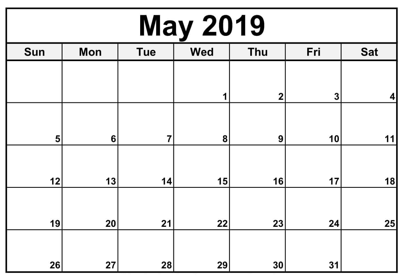Free May Calendar 2019 Printable Templates Pdf Word Excel