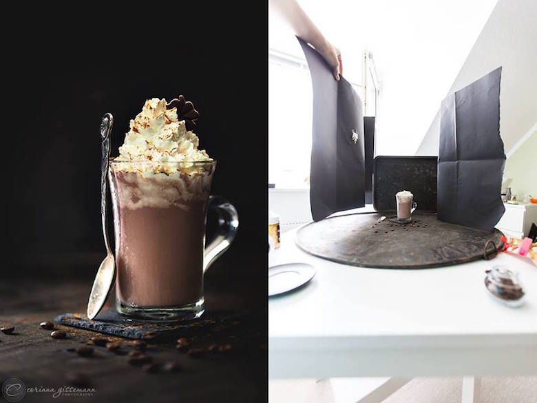 Examples of creative lighting techniques in photography food