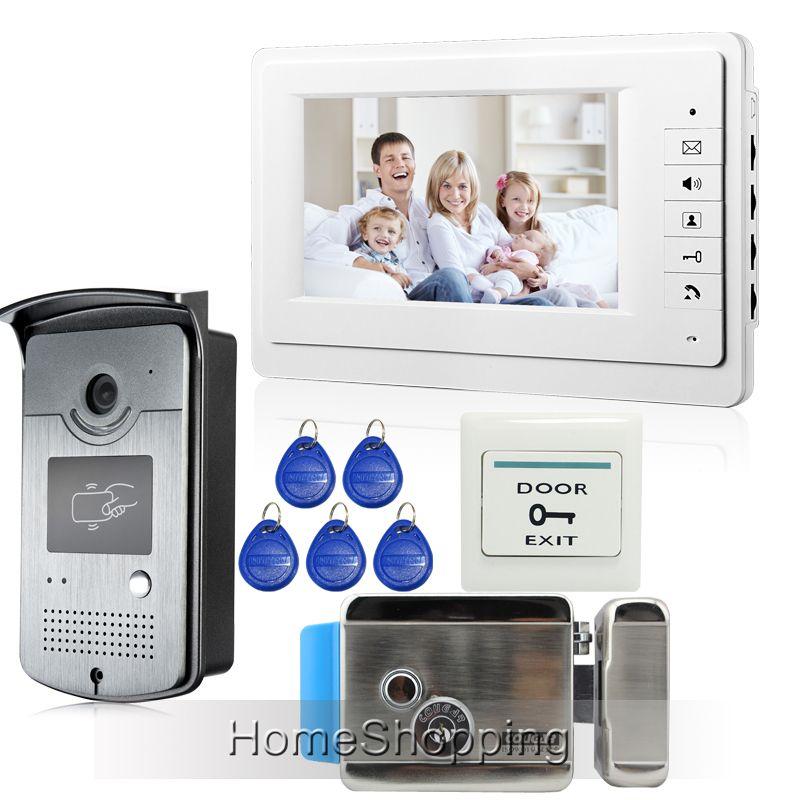 Free Shipping 7 Inch Video Door Phone Intercom System 1 Monitor 1 Rfid Access Doorbell Camera Electric Door Lock In Doorbell Camera Video Door Phone Phone