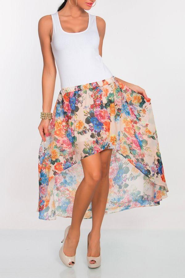Zwiewna Maxi Spodnica Asymetryczna Szyfon Kwiaty 4633743013 Oficjalne Archiwum Allegro Skirts Fashion Floral Skirt