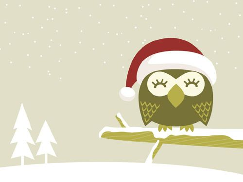 Christmas Owl Desktop Wallpaper