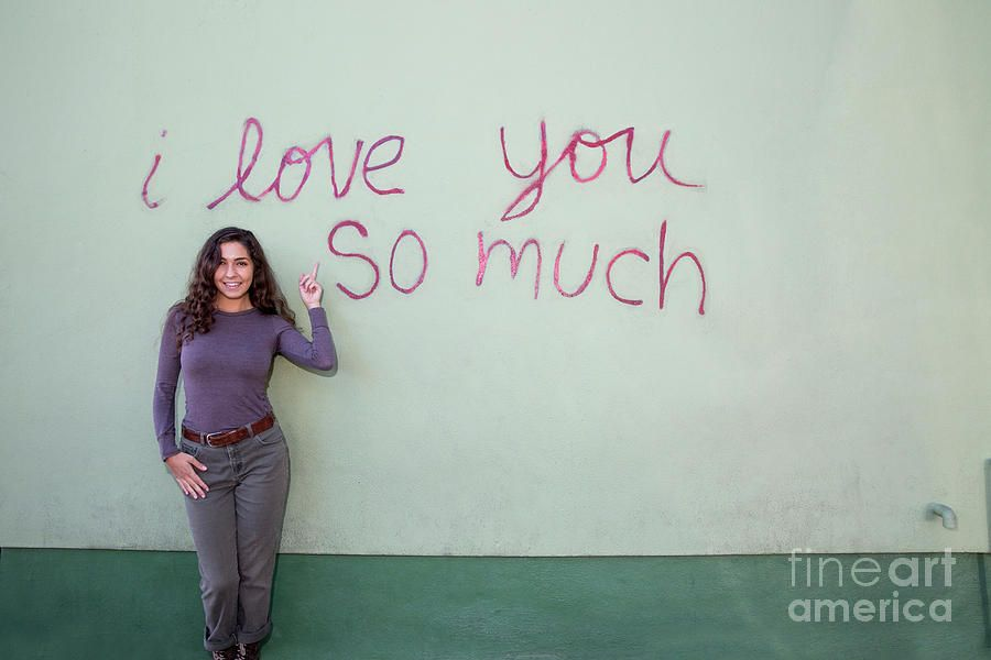 A Local Austin Woman Poses In Front Of The Iconic I Love You So  Photograph by Herronstock Prints