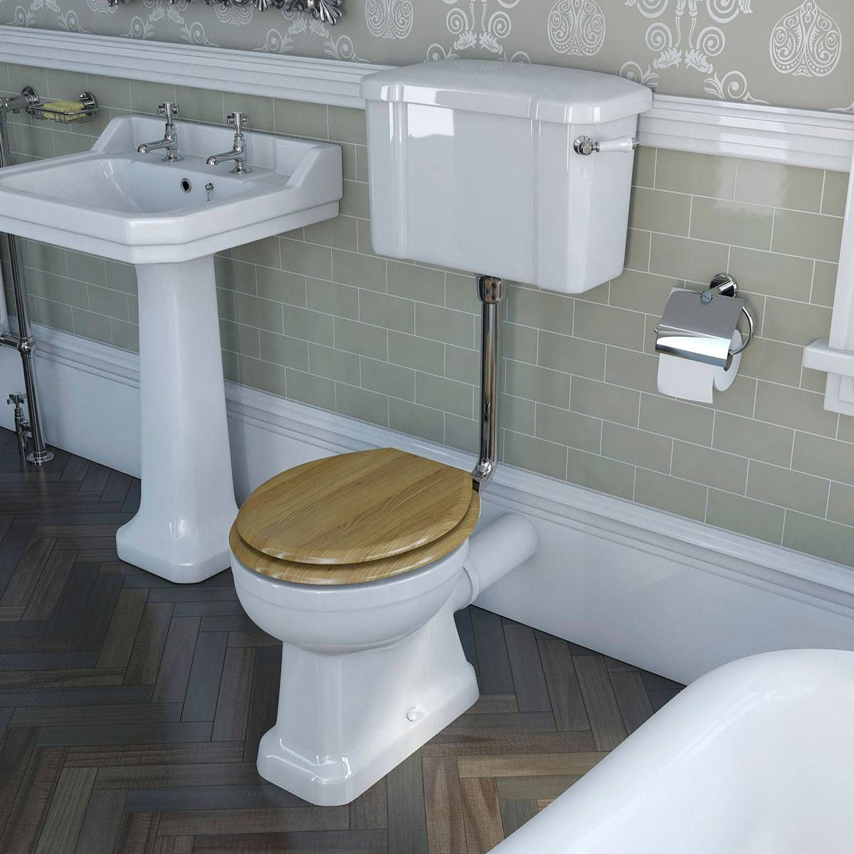 Bathroom Accessories Victoria Plumb camberley low level toilet inc luxury solid oak seat - victoria