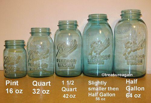 Mason Jar Size Comparison Ball Blue Jars With Images Mason Jar