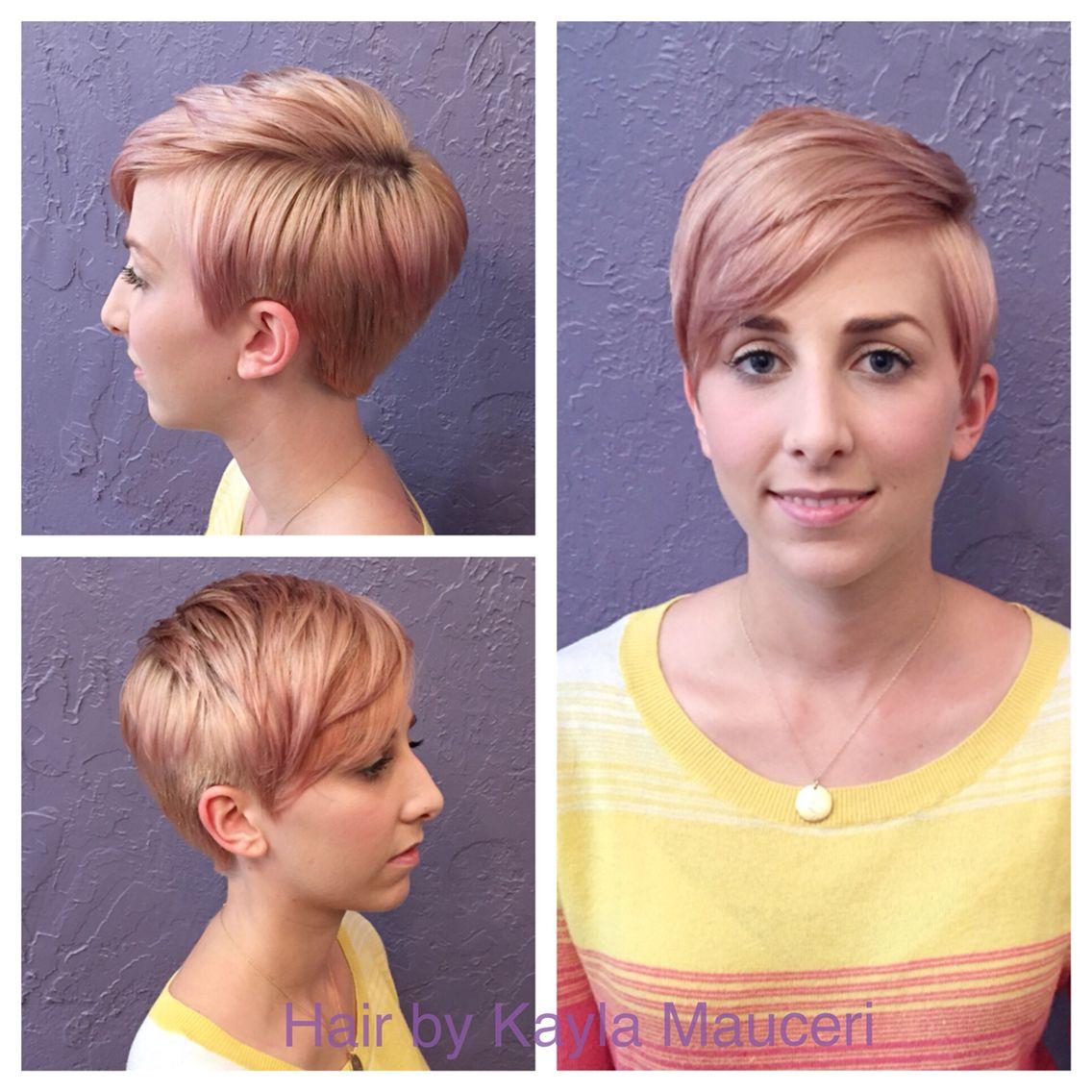 Rose gold pixie cut