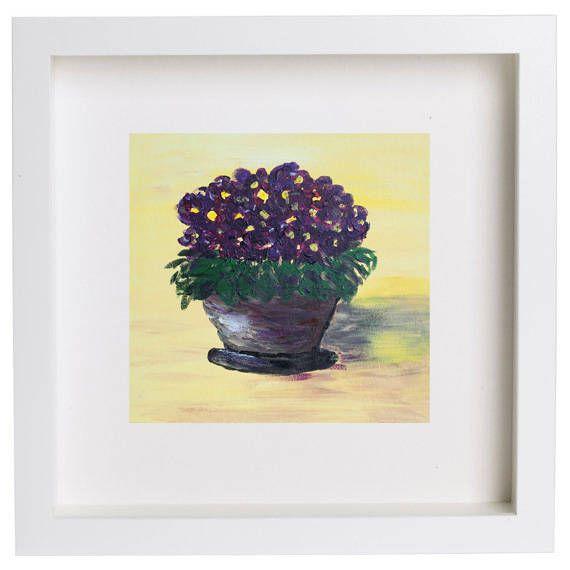 African violets art, Purple violets art, Violets still life, kitchen ...