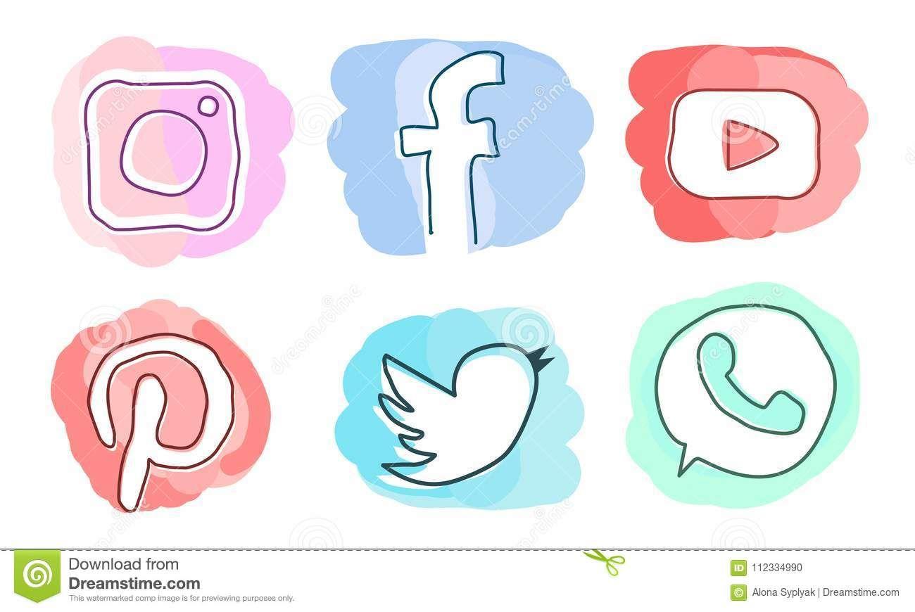Set Of Social Media Icons Instagram Facebook Pinterestyoutube