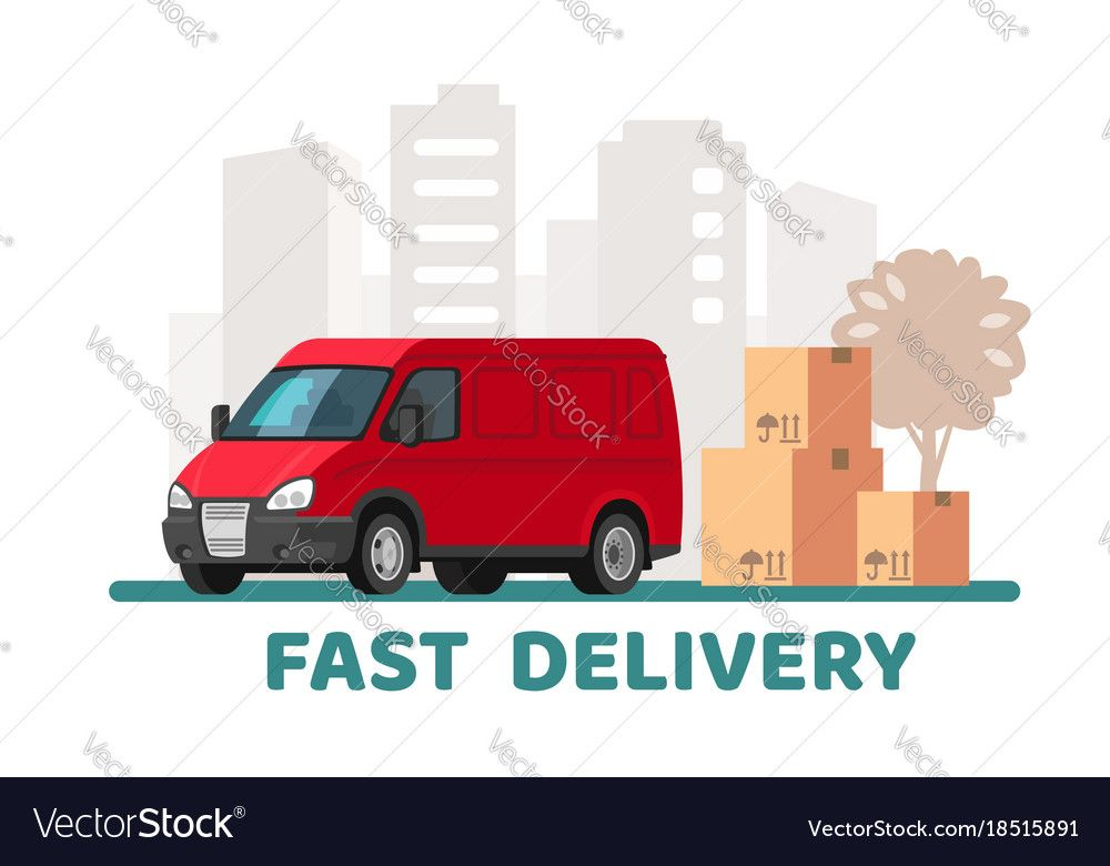 Red Delivery Van With Cardboard Boxes With Fragile Affiliate