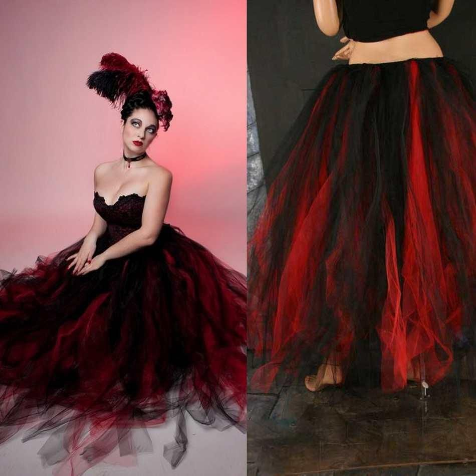 Gothic Scary Black And Red 2015 Ball Gown Wedding Dresses Vintage Victorian Strapless Tulle Halloween Party Floor Length Corset Bridal Gowns
