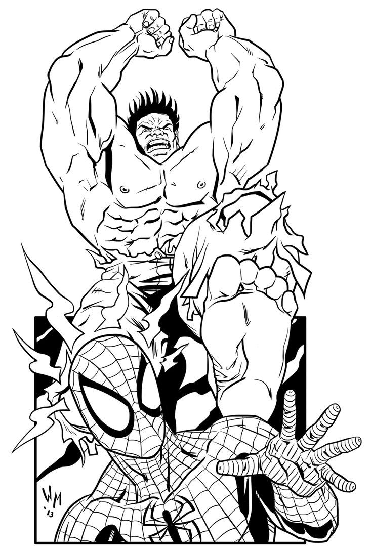 coloring pages hulk and spiderman hulk and spiderman coloring