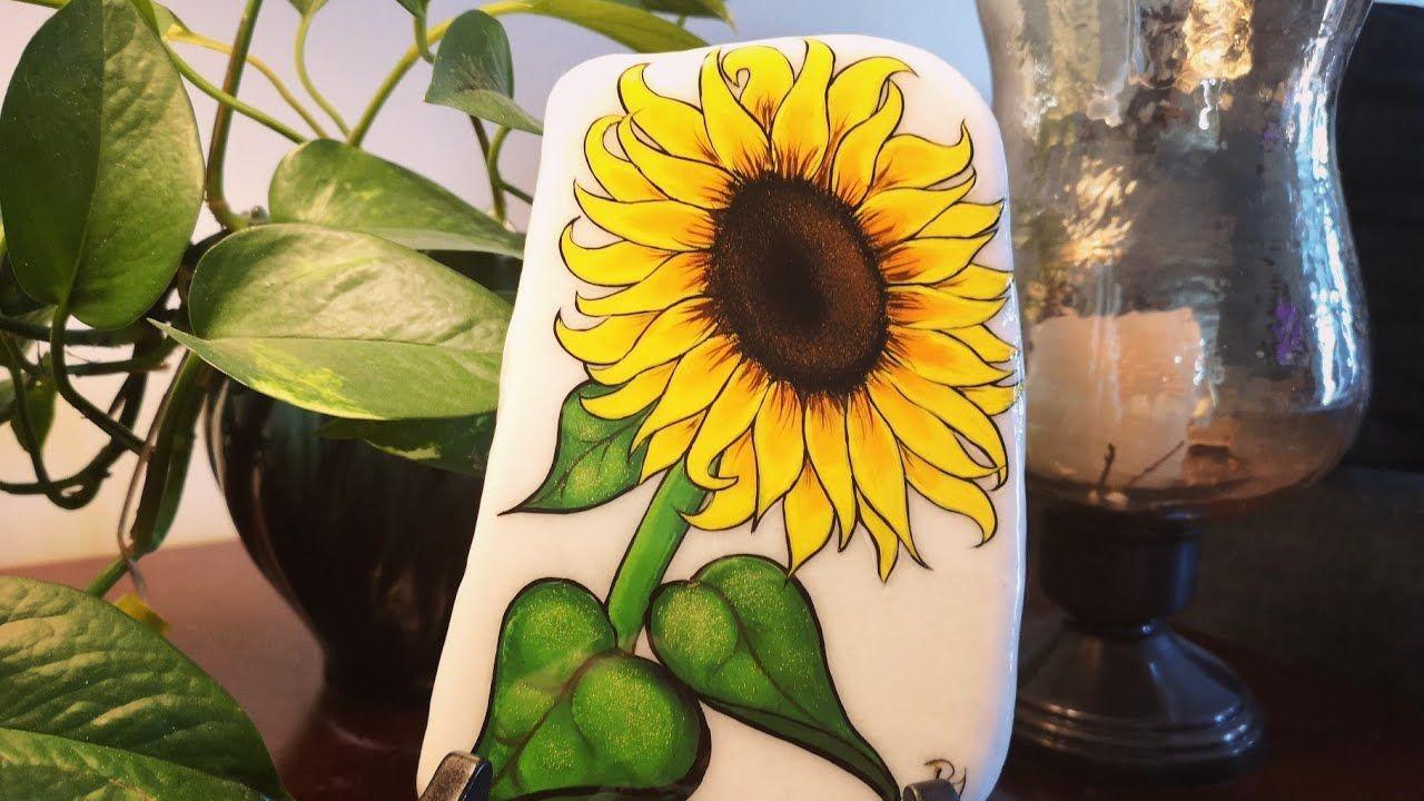 Santorini Sunflower Stonegÿœ Youtube Sunflower Painting Stone Painting Painted Rocks