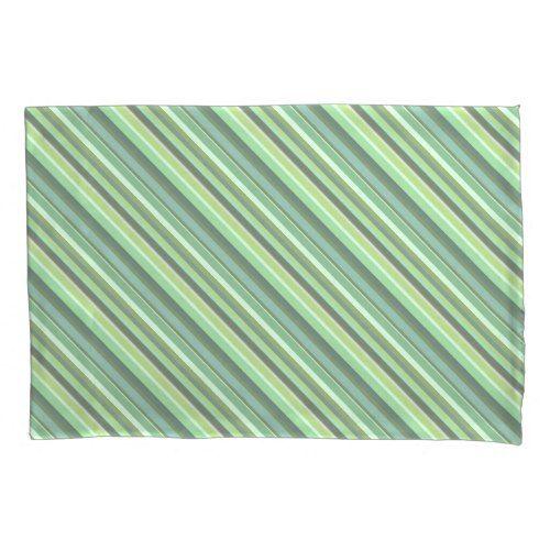 Olive green diagonal stripes pillowcase
