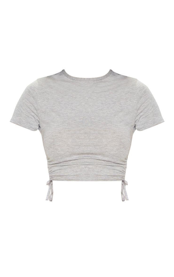 Grey Jersey Ruched Side Crop T Shirt #cutecroptops