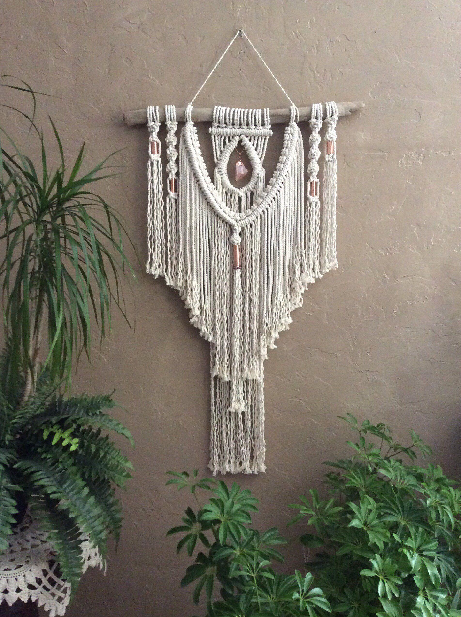 Macrame Wall Hanging On Driftwood Bohemian Decor Macrame Crystal