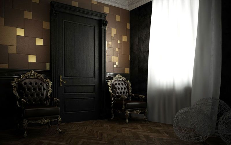 golden, brown, cobalt leather wall coverings Firefly, a revolution in the world of floors and walls 4