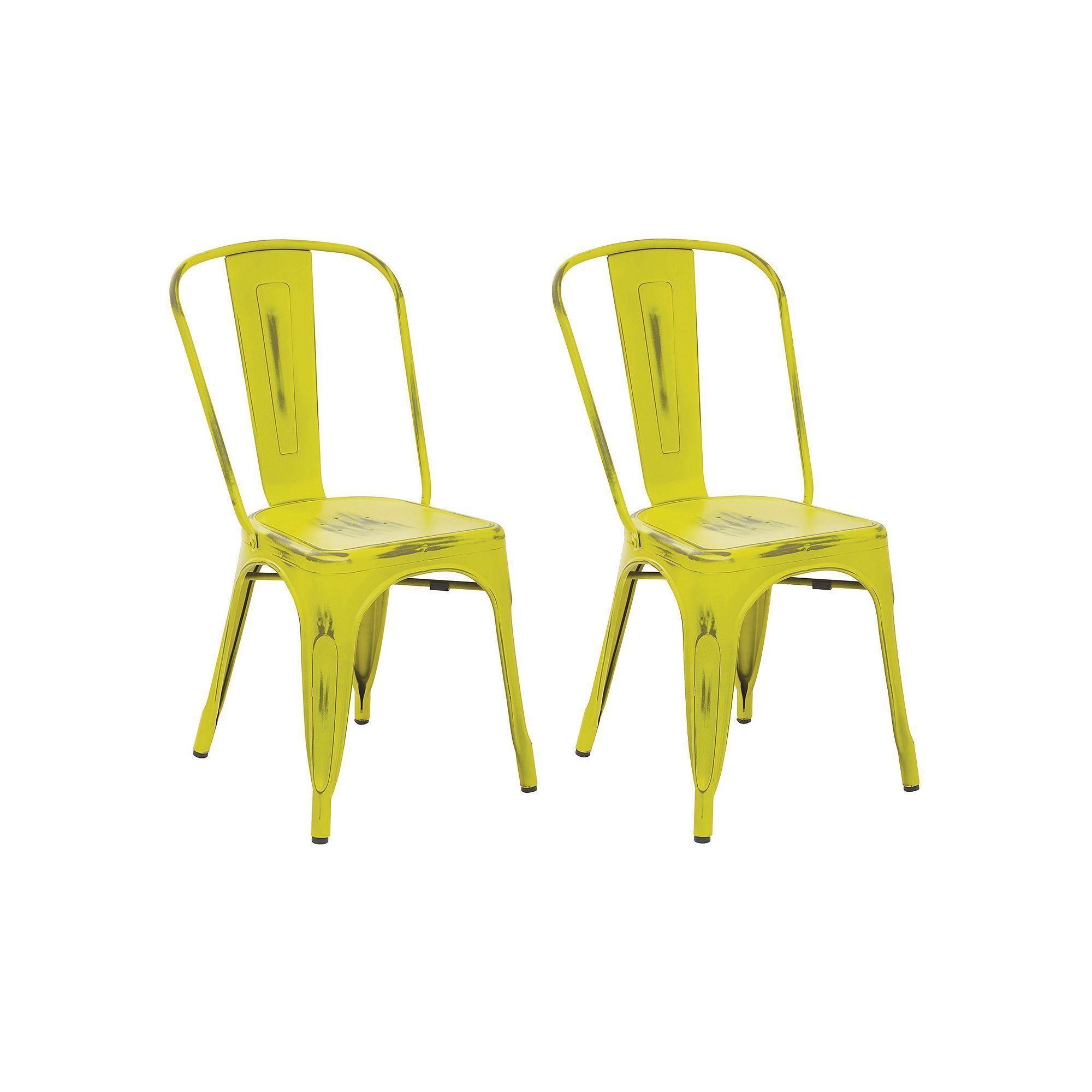 OSP Designs Bristow Distressed Metal Armless Chair 2-piece Set, Green