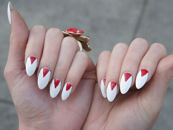 Outrageous Nails inspired by TV series, NIP TUCK - red and white Claw Nails