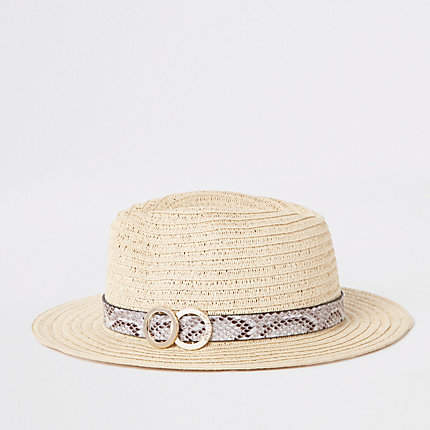 1a6c1ea3c6b Beige snake print trim straw hat - Hats - Accessories - women in ...
