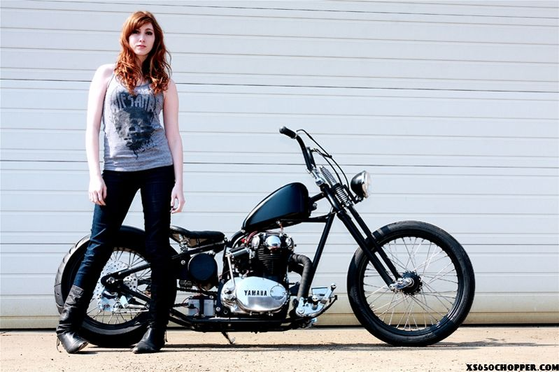 XS650 Chopper by Ardcore Choppers.  And I *LOVE* the model's pose.