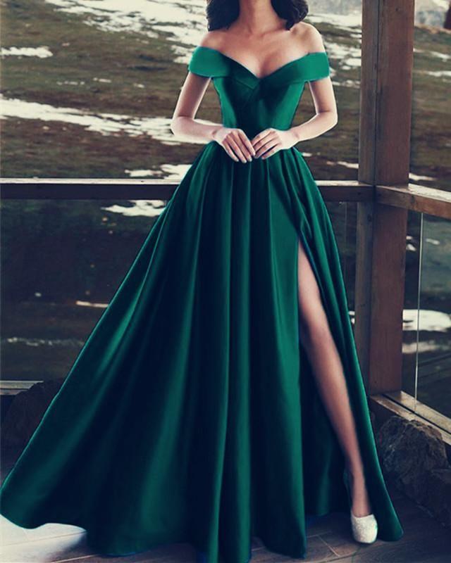 Elegant V-neck Off The Shoulder Long Satin Prom Dresses 17