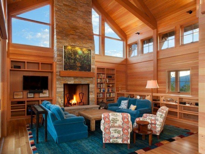Wohnzimmer im Landhausstil - komplett in Holz verkleidet - wohnzimmer ideen landhausstil