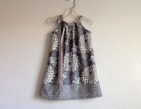New Girls Pillowcase Dress  Grey and White Dahlias by dreambirds