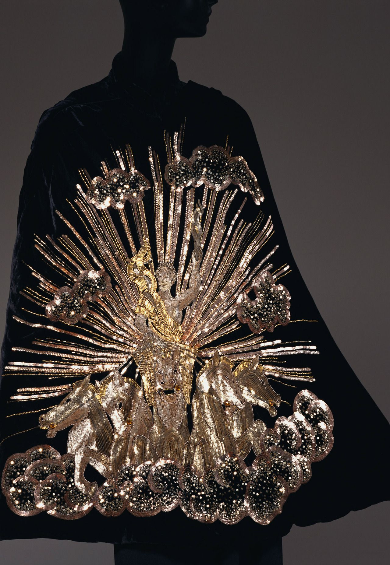 Elsa Schiaparelli evening cape with gold 'Apollo of Versailles' embroidery by Maison Lesage, 1938