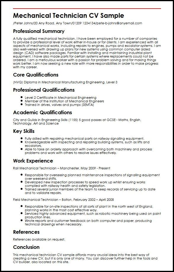 mechanical technician cv sample myperfectcv Engineering