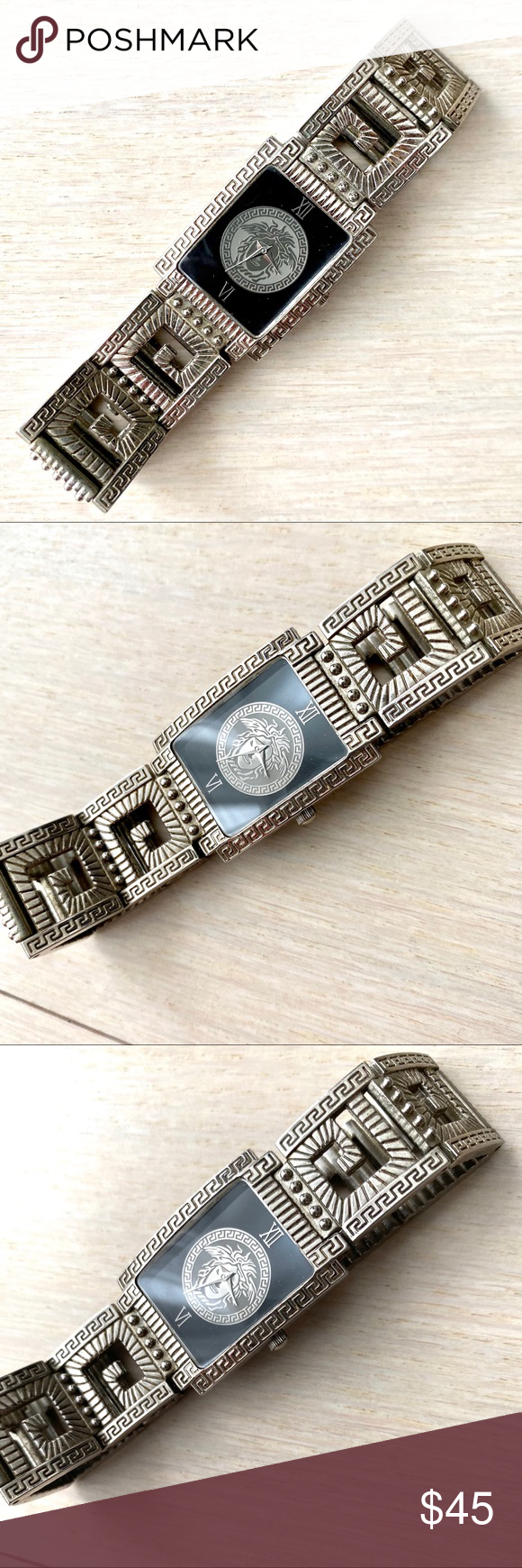 Vintage Silver Bracelet Clasp Watch Roman Numerals This vintage watch was purchased from a jewelry booth about 20 years ago. The battery has been replaced at a jeweler, so it will tell time for awhile!  General wear on the finish, particularly on the clasp. Nice gift. Vintage Jewelry #vintagewatches